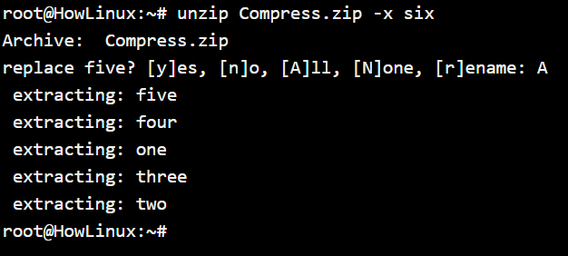 Unzip File Exclusion