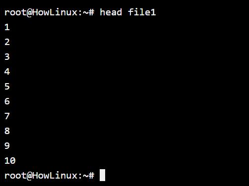 Head Command Default Usage