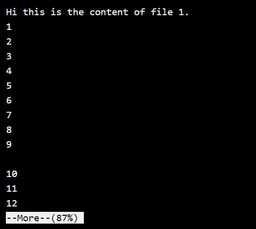 More Command Default Output