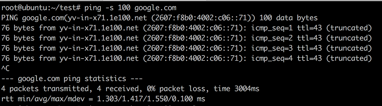 Ping Packet Size Example
