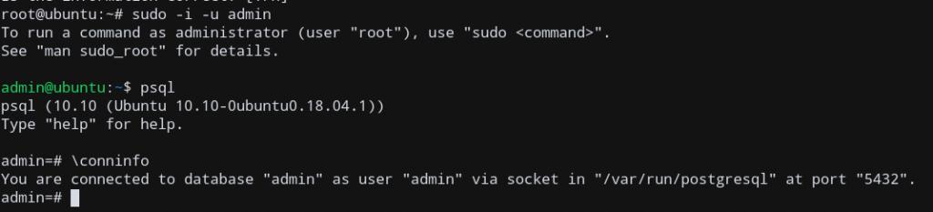 Psql Ubuntu Logged In As New User