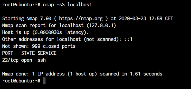 Nmap command in Linux Syn Scan