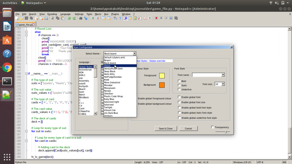 Notepad Select Theme