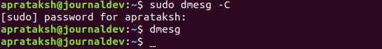 Dmesg Command Clear