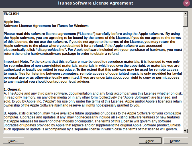 ITunes Agree License
