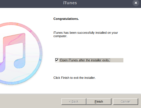 ITunes Installation Finished