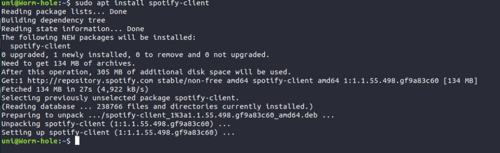 Installing Spotify Debian Package Via Terminal