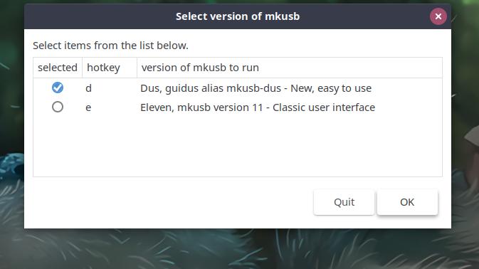 Choose Mkusb Interface Type