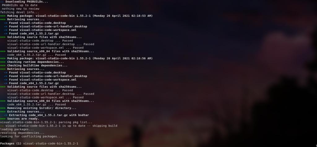 Paru Vs Code  VS Code on Arch