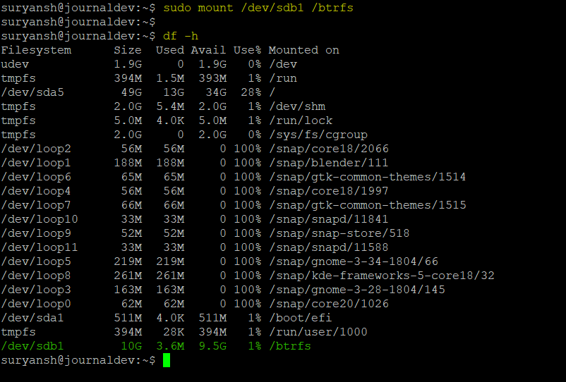 Btrfs Partition Mounted