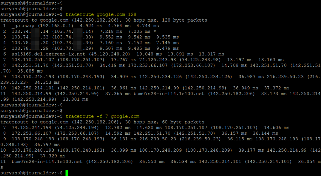 TTL To Start With In Traceroute Command