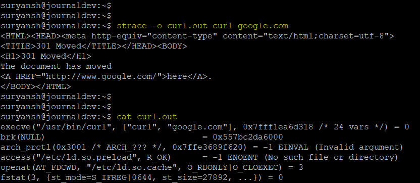 Writing Output Of Strace To A File