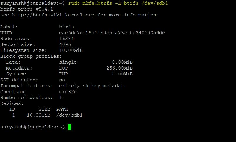 Btrfs Filesystem Created