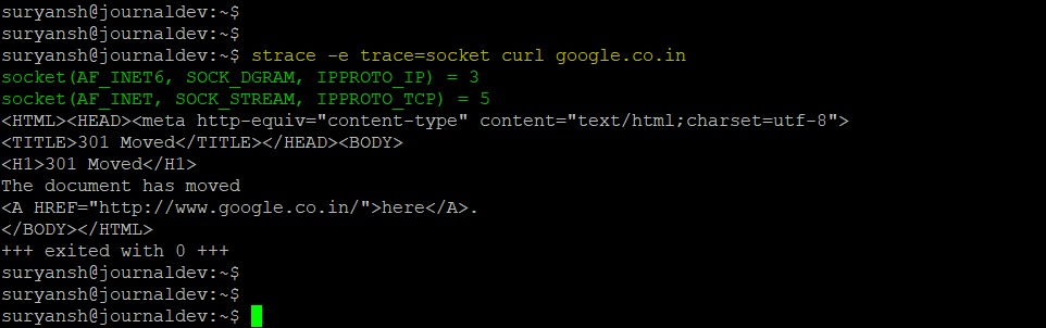 Strace Command Output For The Sockets System Call Only