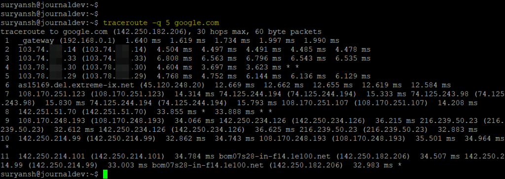 Traceroute Command With Number Of Probe Packets Per Hop
