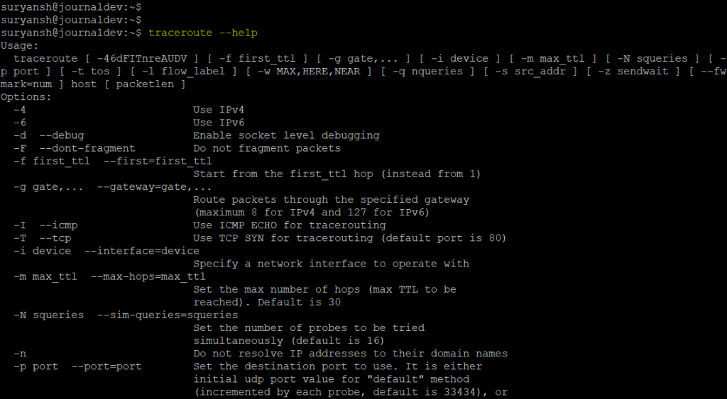 Traceroute Help Command